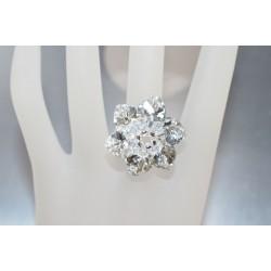 Bague cristal de Swarovski fleur crystal comet argent et crystal moonlight