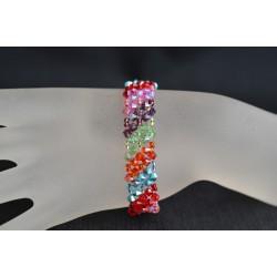Bracelet cristal Swarovski manchette diagonales multicolore
