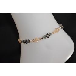 Bracelet de cheville crystal de Swarovski crystal light chrome 2x, crystal golden shadow-doré et argent