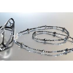 Cordon à lunettes en cristal, hématite 2x