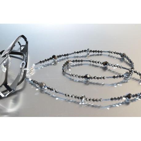 Cordon pour lunettes en crystal de Swarovski hématite 2x
