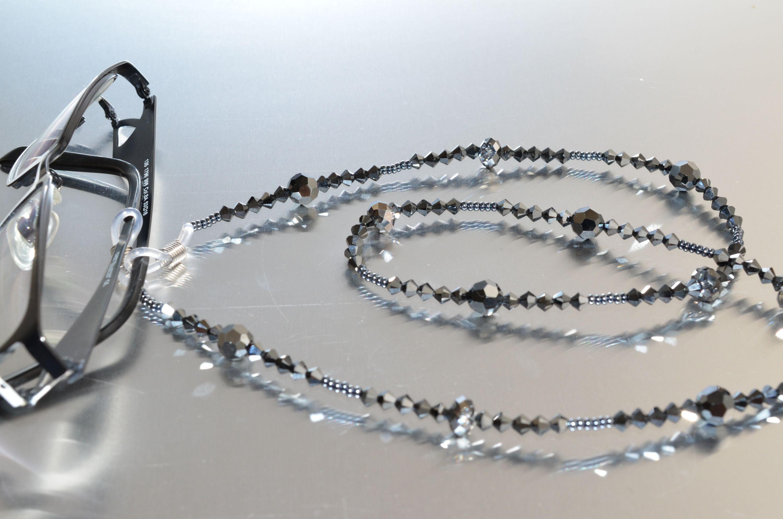 prix bas Achat/Vente livraison gratuite Cordon pour lunettes en crystal de Swarovski hématite 2x