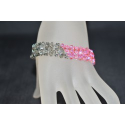 Bracelet cristal Swarovski manchette light rose ab2x et crystal silver night ab