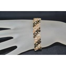 Bracelet cristal Swarovski manchette cristal metallic gold 2x et crystal golden shadow