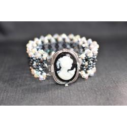 Bracelet cristal de Swarovski méga-large hématite 2x et crystal ab2x