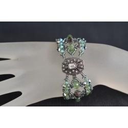 "Bracelet cristal Swarovski ""Somptueux"" extra large crystal light chrome 2x et péridot ab2x"
