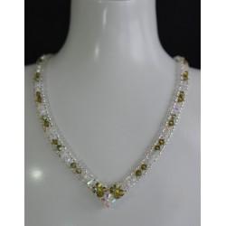 Collier 'rivière' cristal de Swarovski olivine ab et cristal ab2x