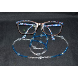 Cordon à lunettes en cristal de Swarovski crystal ab2x, capri blue, aquamarine