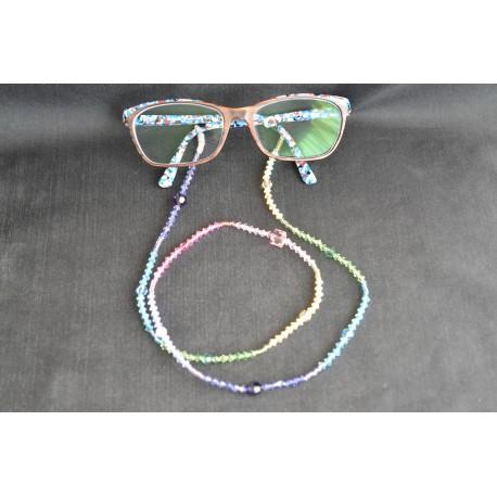 Cordon à lunettes en cristal de Swarovski arc-en-ciel