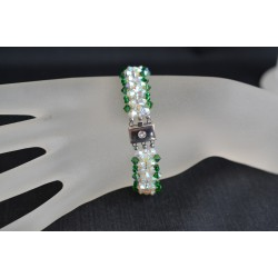 Bracelet cristal Swarovski manchette cristal ab2x et fern green ab
