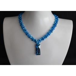 Ras du cou Pendentif Swarovski 6925 Growing Crystal Rectangle 26 mm Crystal Bermuda Blue