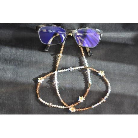Cordon à lunettes en cristal de Swarovski light smoked topaz ab, crystal ab2x
