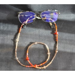Cordon à lunettes en cristal de Swarovski aux couleurs de brun à orange