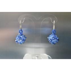 Boucles d'oreille argent 925  forme cube en cristal de Swarovski light sapphir ab-sapphir satin