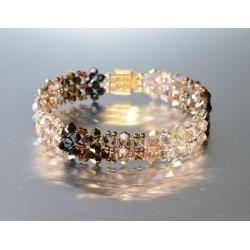 Bracelet cristal  Swarovski manchette camaïeu brun large de 1.5 cm