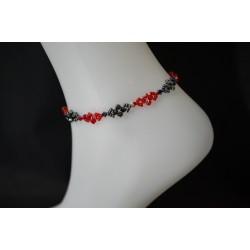 Bracelet de cheville cristal de Swarovski light siam et hématite 2x soit rouge et rouge