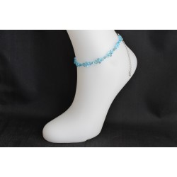 Bracelet de cheville cristal de Swarovski aquamarine  ab2x scintillant