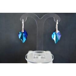 Boucles d'oreilles argent 925 et Feuille cristal de Swarovski bermuda blue