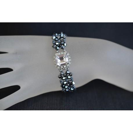 Bracelet manchette cristal Swarovski hématite 2x