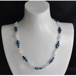 "Collier cristal Swarovski, bijou mode, metallic blue 2x, crystal ab2x, ""océan"""