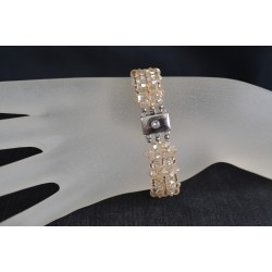 Bracelet cristal Swarovski, bijou mode, manchette, crystal golden shadow, beige