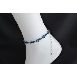 Bracelet de cheville Swarovski, bijou corps, cristal Swarovksi, metallic blue 2x