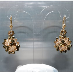 Boucles d'oreille Swarovski bronze dorado 2x et golden shadow