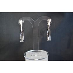 Boucles d'oreilles Swarovski, argent 925, Queen Baguette, clip, cristal Swarovski, crystal silver night