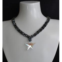 Ras du cou, cristal Swarovski, tour de cou, hématite 2x,  Etoile crystal blue ab