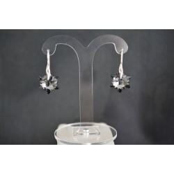 Boucles d'oreilles Swarovski, argent 925, bijoux femme, Edelweiss Swarovski, mode, crystal silver night