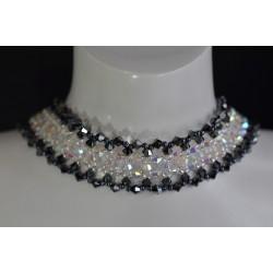 Ras de cou Swarovski, extra-large, cristal ab2x, hématite 2x, bijoux femme
