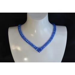 Collier cristal Swarovksi, mode, sapphire ab2x, femme, bleu azur
