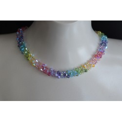 Ras du cou, cristal de Swarovski, multcolore, bijou mode, arc-en-ciel, femme