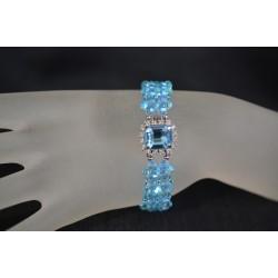 Bracelet manchette cristal Swarovski aquamarine ab2x