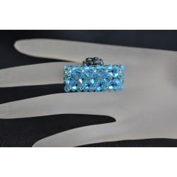 Bague cristal Swarovski, bijou femme, bague longue, bague aquamarine ab2x, mode