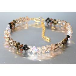 Bracelet cheville cristal Swarovski camaïeu marron-brun