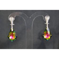 Boucles d'oreilles cristal Swarovski, argent 925, goutte baroque crystal vitrail médium