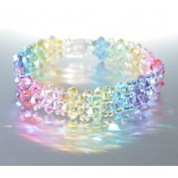 """Bracelet cristal  Swarovski manchette large """"arc-en-ciel"""""""