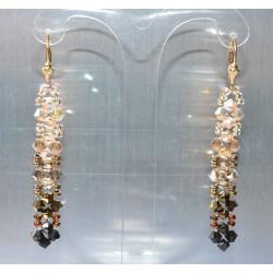 Boucles d'oreille cristal de Swarovski camaïeu de brun
