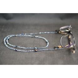 Cordon à lunettes, cristal Swarovski, chic, light sapphire satin, luxe, accessoire lunettes