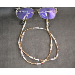 Cordon à lunettes, cristal Swarovski, chic, bronze, crystal shimmer, luxe, accessoire lunettes