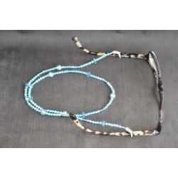 Cordon à lunettes, cristal Swarovski, chic, aquamarine ab2x, luxe, accessoire lunettes