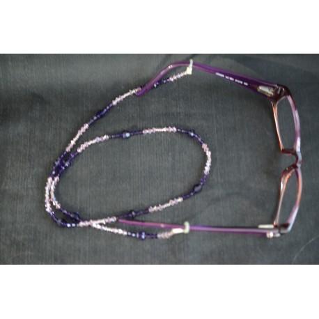 Cordon à lunettes, cristal Swarovski, chic, purple velvet, luxe, light amethyst ab, accessoire lunettes