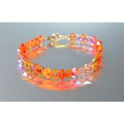 Bracelet fin cristal Swarovski camaïeu orange