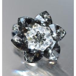 Bague cristal de Swarovski fleur crystal silver night et crystal moonlight