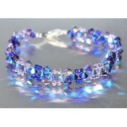 Bracelet fin cristal Swarovski purple velvet ab2x et tanzanite ab2x