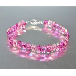 Bracelet fin cristal Swarovski rose ab et fuschia ab