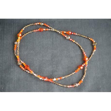 Collier cristal de Swarovski crystal light smoked topaz ab, fireopal ab