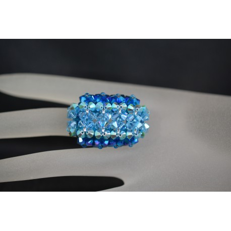 Bague cristal Swarovski, bijou femme, hérisson allongée, nuance de 4 bleus, luxe