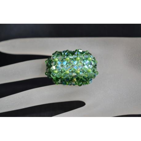 Bague cristal Swarovski, bijou femme, hérisson allongée, nuance de 4 verts, luxe